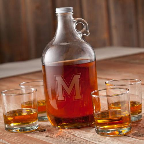 Personalized Whiskey Growler Set with Glasses  Home & Garden > Kitchen & Dining > Barware > Decanters