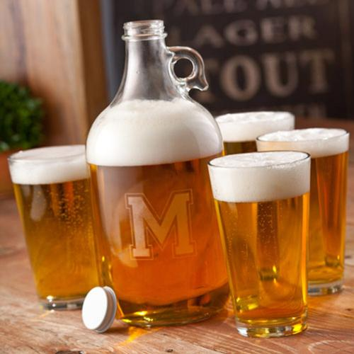Personalized Beer Growler Set with Glasses  Home & Garden > Kitchen & Dining > Barware > Decanters
