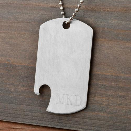 Monogrammed Dog Tag Necklace with Bottle Opener Personalized Bottle Opener Dog Tag Necklace  Apparel & Accessories > Jewelry > Necklaces