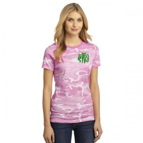 Monogrammed Ladies Camo T Shirt  Apparel & Accessories > Clothing > Shirts & Tops > T-Shirts