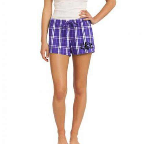 Monogrammed Flannel Plaid Pajama Shorts in 8 Colors  Apparel & Accessories > Clothing > Sleepwear & Loungewear > Pajamas