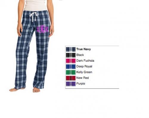 monogrammed plaid flannel lounge pants