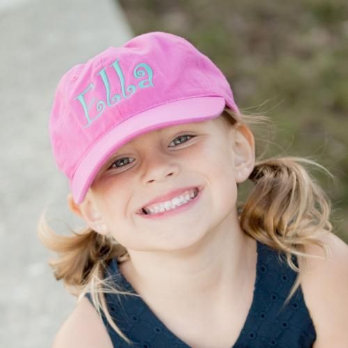 Child's Hot Pink Ball Cap with Monogram  Apparel & Accessories > Clothing Accessories > Baby & Toddler Clothing Accessories > Baby & Toddler Hats