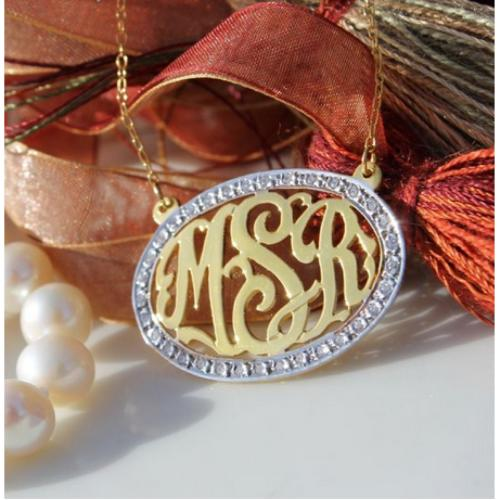 Cz Bordered Oval Script Monogram Necklace in gold or sterling  Apparel & Accessories > Jewelry > Necklaces