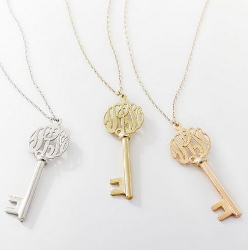 Three Letter Script Monogrammed Key Necklace  Apparel & Accessories > Jewelry > Necklaces