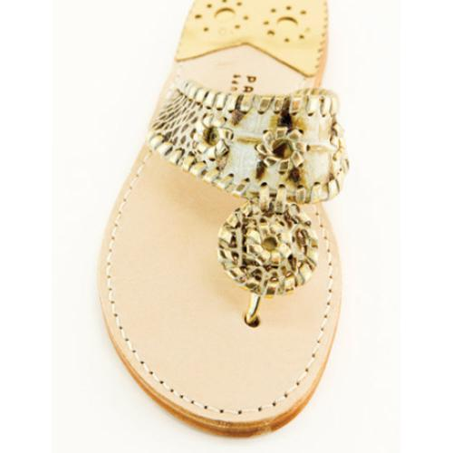 Pale Gold Croc with Gold Palm Beach Sandals Pale Gold Croc with Gold Apparel & Accessories > Shoes > Sandals > Thongs & Flip-Flops