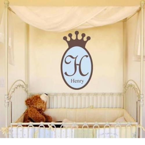 Prince Crown Wall Decal with Name and Initial  Home & Garden > Decor > Wall & Window Decals