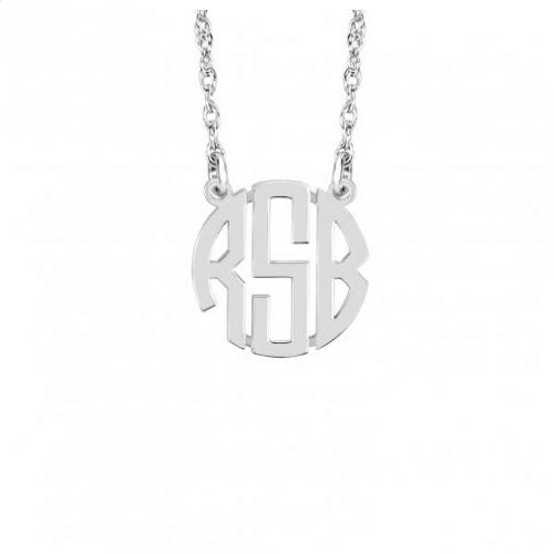 Petite Block Font Monogrammed Necklace Gold Upgrade Options  Apparel & Accessories > Jewelry > Necklaces