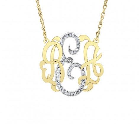 10 karat Gold Pendant with Diamonds in the center letter  Apparel & Accessories > Jewelry > Necklaces