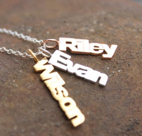 Vertical Names Necklace in Silver, Rose Gold or Yellow Gold  Apparel & Accessories > Jewelry > Necklaces