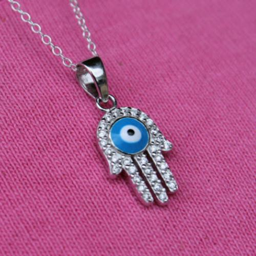 Sterling Silver Evil Eye Necklace  Apparel & Accessories > Jewelry > Necklaces