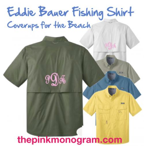 Monogrammed Eddie Bauer Short Sleeve Fishing Shirts make great Beach coverup  Apparel & Accessories > Clothing > Activewear > Active Shirts