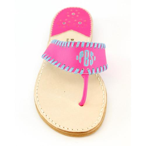 Monogrammed Sandal in Pink Neon with Lupine Pink Neon with Lupine Monogrammed Apparel & Accessories > Shoes > Sandals > Thongs & Flip-Flops
