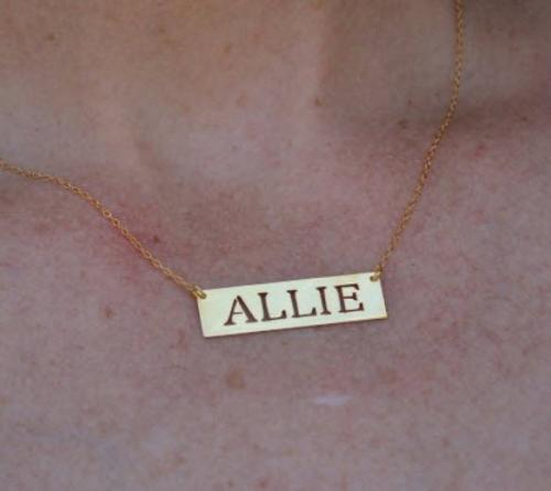 Nameplate Necklace With Cut Out Letters  Apparel & Accessories > Jewelry > Necklaces