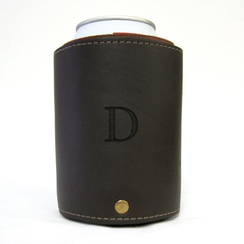 Custom Engraved Initial Leather Gentlemans Can Koozie  Home & Garden > Kitchen & Dining > Food & Beverage Carriers > Drink Sleeves > Can & Bottle Sleeves