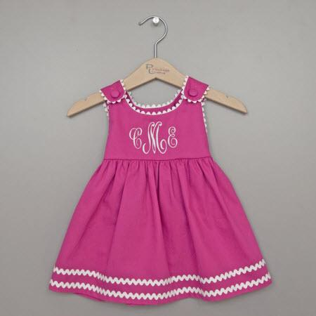 Monogrammed Pique Dress in Pink with White Trim  Apparel & Accessories > Clothing > Baby & Toddler Clothing > Baby & Toddler Dresses
