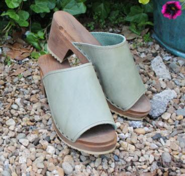 Olive distress leather on a brown high heel NULL