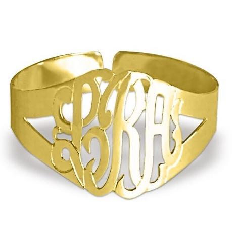 Monogram Hand Cut Interlocking Script Cuff Bracelet  Apparel & Accessories > Jewelry > Bracelets