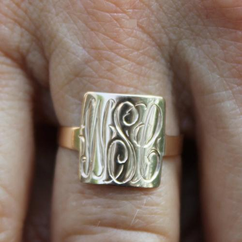 "Monogrammed Square 10 kt Gold Ring perfect ""Sweet 16"" Ring  Apparel & Accessories > Jewelry > Rings"