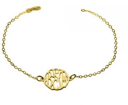 Monogrammed 10 Karat Gold Interlocking Script Bracelet  Apparel & Accessories > Jewelry > Bracelets