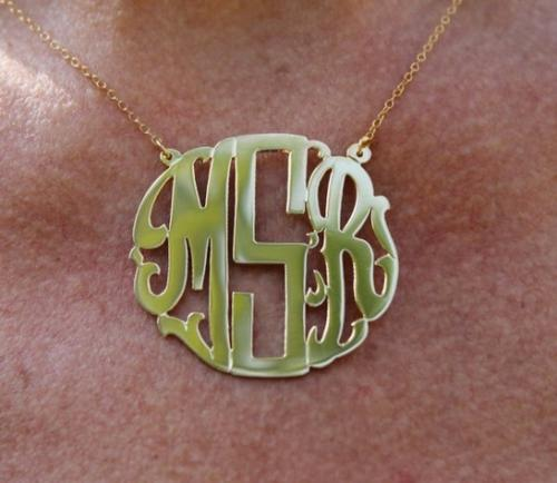Monogrammed Modern Font Necklace  Apparel & Accessories > Jewelry > Necklaces