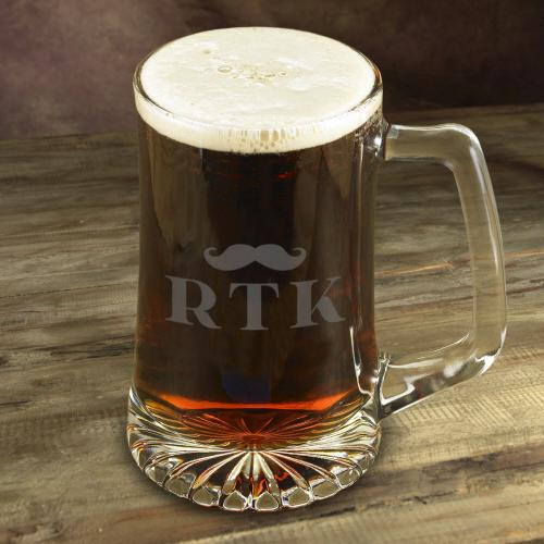 Personalized Glass Mug with Mustache  Home & Garden > Kitchen & Dining > Tableware > Drinkware > Mugs