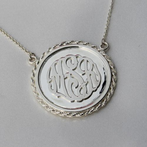 Monogrammed Raised Letter Pendant With Rope Trim  Apparel & Accessories > Jewelry > Necklaces