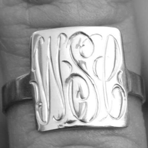Square hand engraved sterling silver ring  Apparel & Accessories > Jewelry > Rings