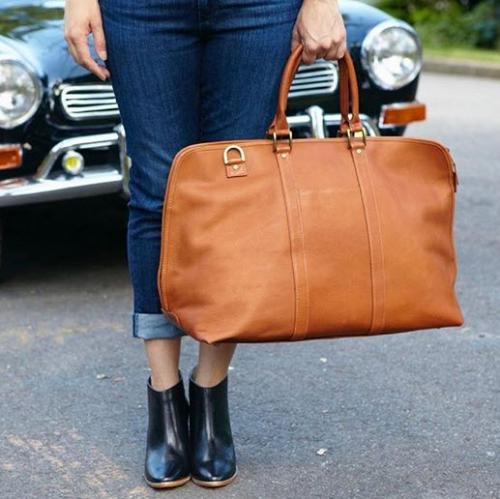 Personalized All Leather Weekender Satchel in 3 Colors  Luggage & Bags > Business Bags > Briefcases
