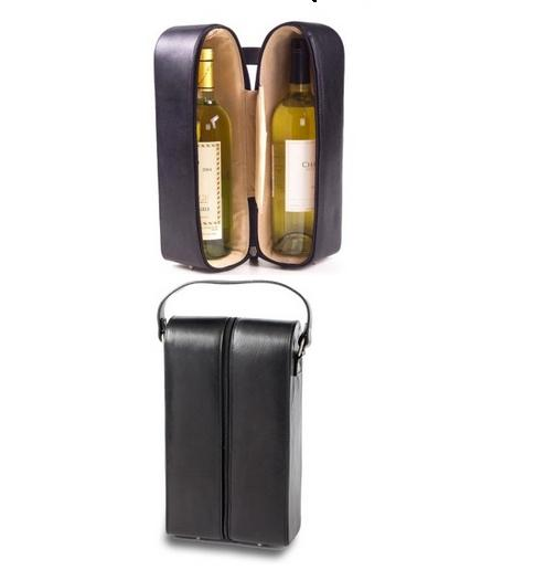 Personalized Leather Two Wine Bottle Holder   Home & Garden > Kitchen & Dining > Food & Beverage Carriers > Wine Carrier Bags