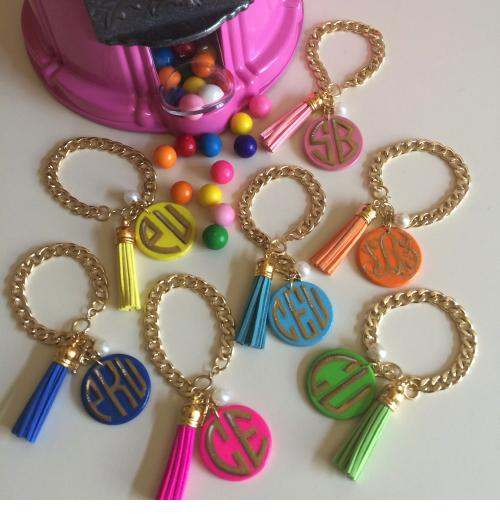 Monogrammed Tassel and Disc Bangle Bracelet in 7 Bright Colors  Apparel & Accessories > Jewelry > Bracelets