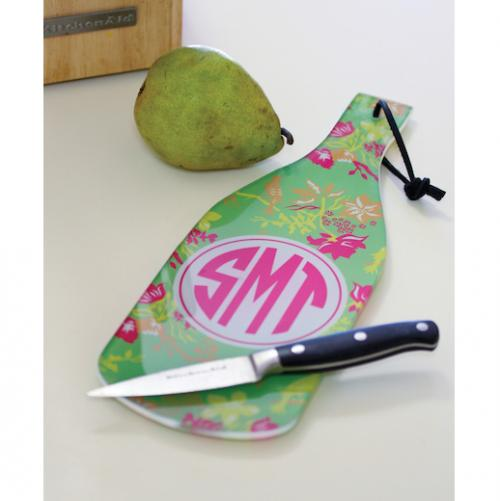 Monogrammed Glass Cutting Board  a Wine Bottle Shape  Home & Garden > Kitchen & Dining > Kitchen Tools & Utensils > Cutting Boards