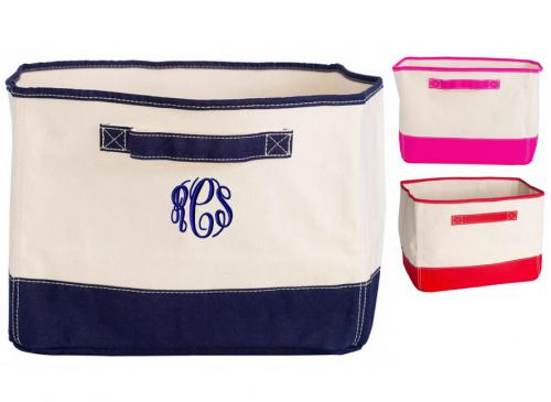 Natural Canvas Storage Bin In Hot Pink , Red or Navy Accent Colors  Home & Garden > Household Supplies > Storage & Organization > Household Storage Containers