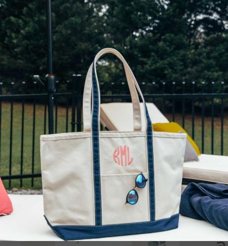 Monogrammed  Large Boat Tote  Luggage & Bags > Shopping Totes