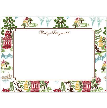 Boatman Geller Personalized Chinoiserie Flat Note  Office Supplies > General Supplies > Paper Products > Stationery