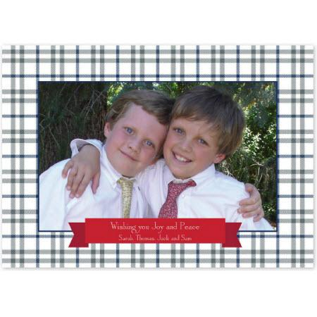 Personalized Miller Check Gray & Blue Flat Photocard  Office Supplies > General Supplies > Paper Products > Stationery