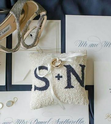 Monogrammed Hand Beaded Ivory Ring Pillow  Apparel & Accessories > Handbags > Clutches & Special Occasion Bags