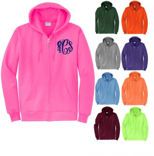 Monogrammed Preppy Full Zip Hooded Sweatshirt   Apparel & Accessories > Clothing > Activewear > Sweatshirts