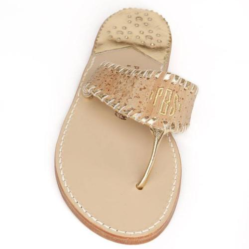Cork with Gold Palm Beach Sandals Cork with Gold Aubrey Apparel & Accessories > Shoes > Sandals > Thongs & Flip-Flops