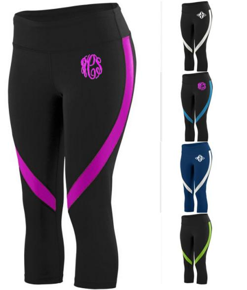 Monogrammed Ladies Color Blocked Leggins  Apparel & Accessories > Clothing > Activewear > Active Pants