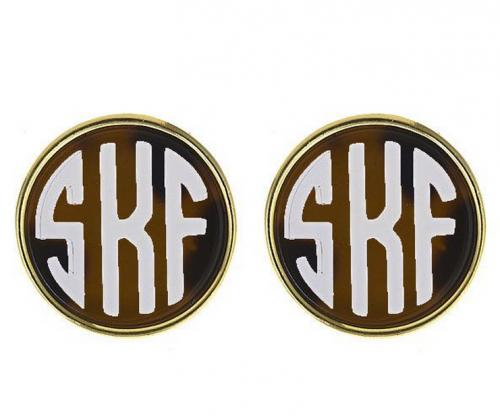 Small Monogrammed Tortoise Shell Earrings  Apparel & Accessories > Jewelry > Earrings