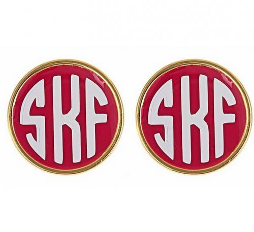 Monogrammed Enameled Stud Earrings All Colors  Apparel & Accessories > Jewelry > Earrings