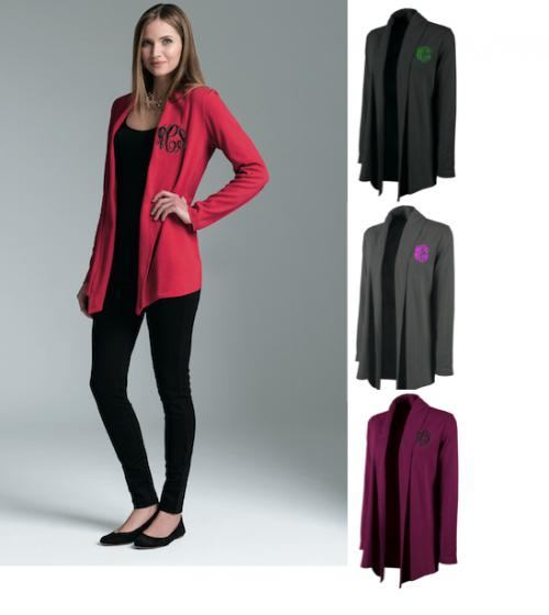 Monogrammed Cardigan Wrap in Black, grey, Berry and Red  Apparel & Accessories > Clothing > Shirts & Tops > Sweaters & Cardigans