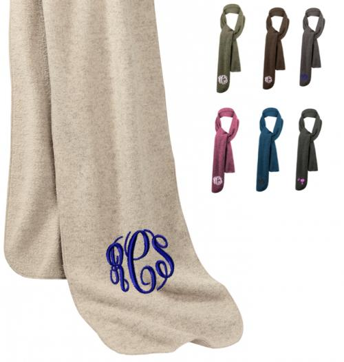 Monogrammed Heather Fleece Knit Scarves  Apparel & Accessories > Clothing Accessories > Scarves & Shawls