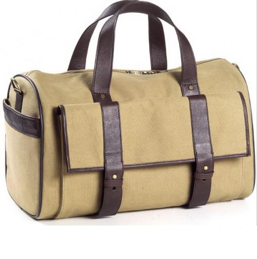 Personalized Canvas and Leather Barrel Duffel Bag  Luggage & Bags > Duffel Bags