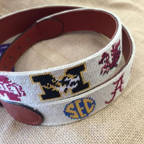 Smathers and Branson SEC Khaki Needlepoint Belt  Apparel & Accessories > Clothing Accessories > Belts