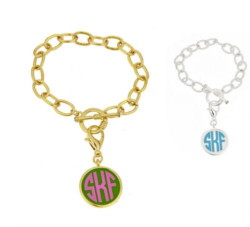 Monogrammed Toggle Bracelet in gold or silver finish  Apparel & Accessories > Jewelry > Bracelets