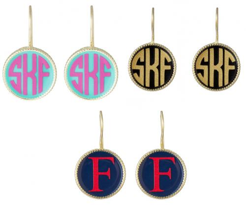 Monogrammed Small French Hook Earrings  Apparel & Accessories > Jewelry > Earrings
