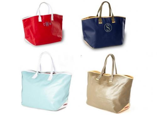 Monogrammed Large Carina Canvas Coated Tote    Apparel & Accessories > Handbags > Tote Handbags