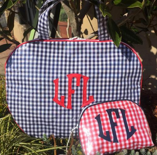 monogrammed bowler toiletry tote by talley ho designs